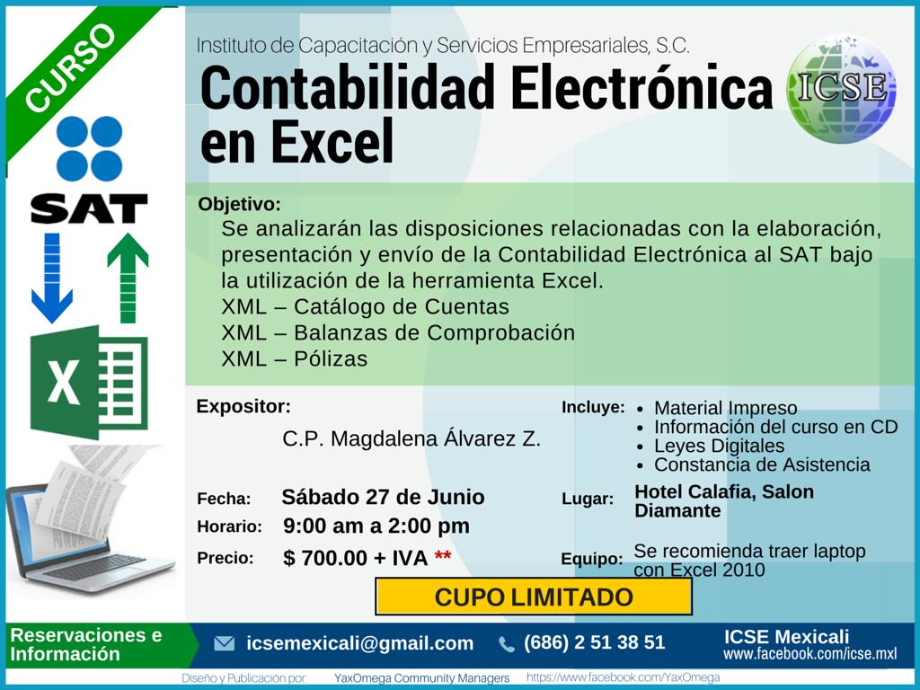 Curso Contabilidad Electr Nica En Excel Icse S C