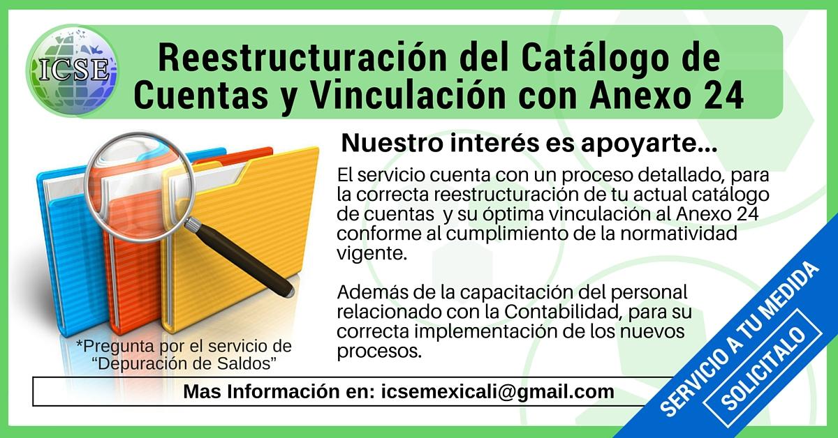 Reestructuracion del Catalogo de Cuentas y Vinculación con Anexo 24