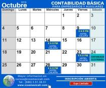 Calendario de las 4 sesiones en octubre