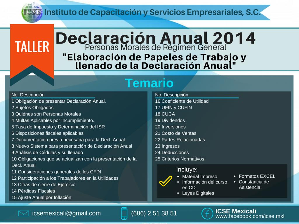 Temario Declaracion Anual 2014