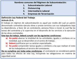 Ley Federal del Trabajo Art. 15-A Definición de Subcontratación Laboral